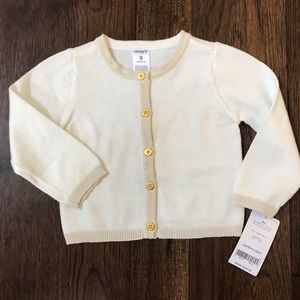 NWT! Gold & White Baby Cardigan.  Gold Buttons. 9m